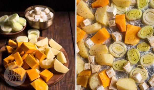 В деревенский пирог с тыквой, картошкой и сельдереем можно класть овощи как крупными кусками, так и помельче