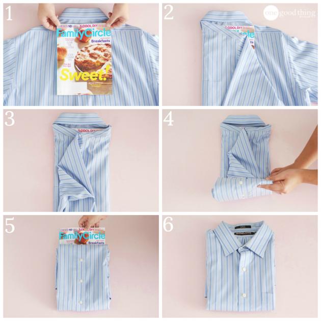как сложить одежду: рубашка
