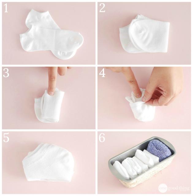как сложить одежду: носки