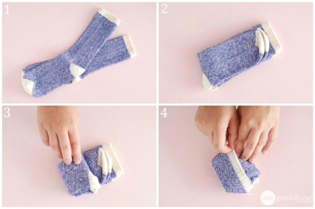 как сложить одежду: длинные носки