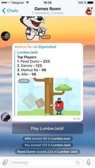 В Telegram появились игры, в которые можно играть с друзьями