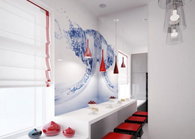 Дизайн маленькой кухни: зеркала и глянцевая мебель