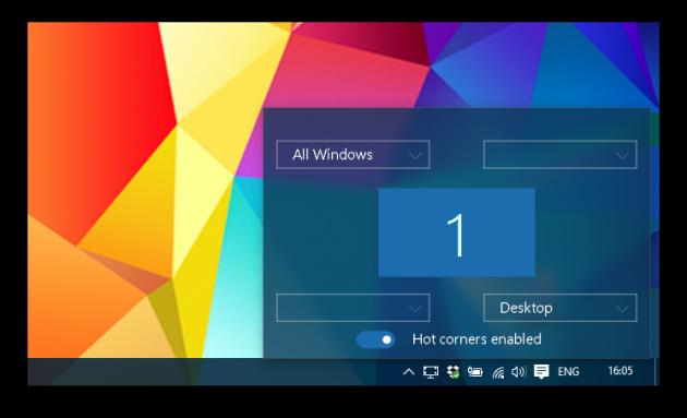 WinXcorners options, в углу экрана