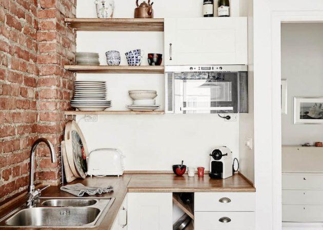 Дизайн маленькой кухни: полки