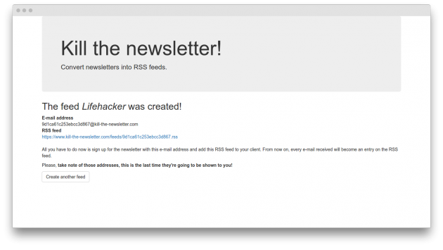 Kill the newsletter: create feed