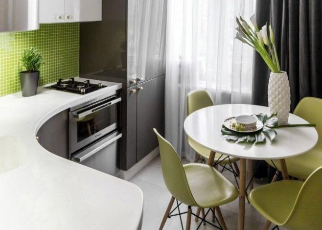 Дизайн маленькой кухни: Г-образная планировка