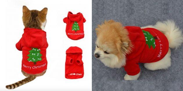 Новогодние костюмы для собак и кошек: красная кофта