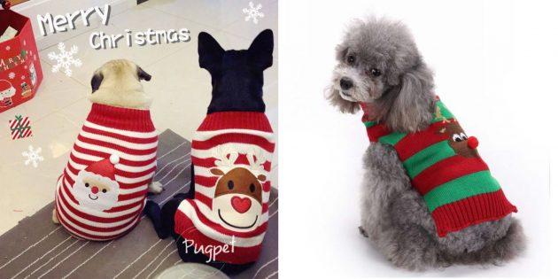 Новогодние костюмы для собак: свитер