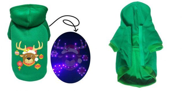 Новогодние костюмы для собак и кошек: LED-костюм