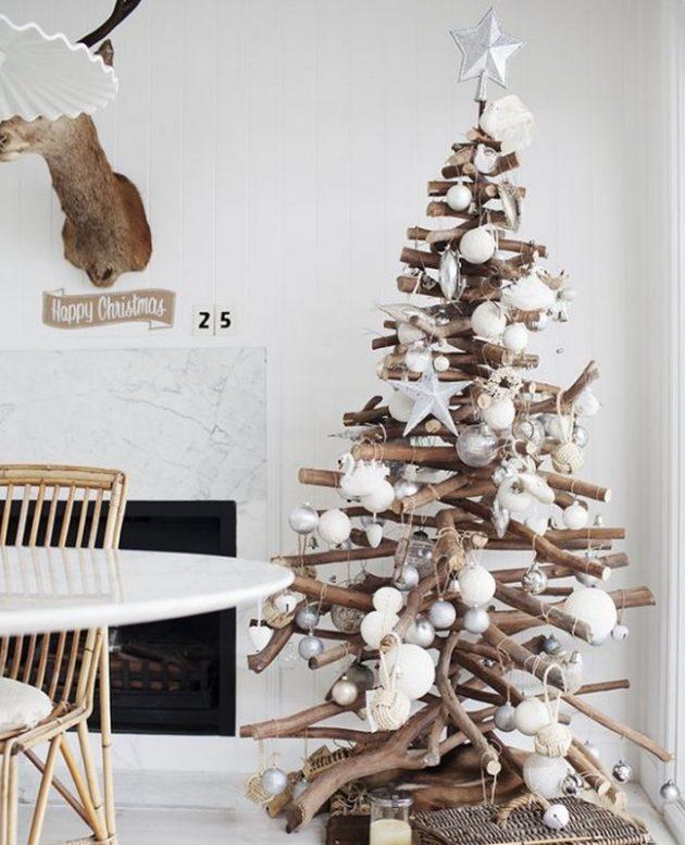 Как украсить дом к Новому году: ёлка из палочек