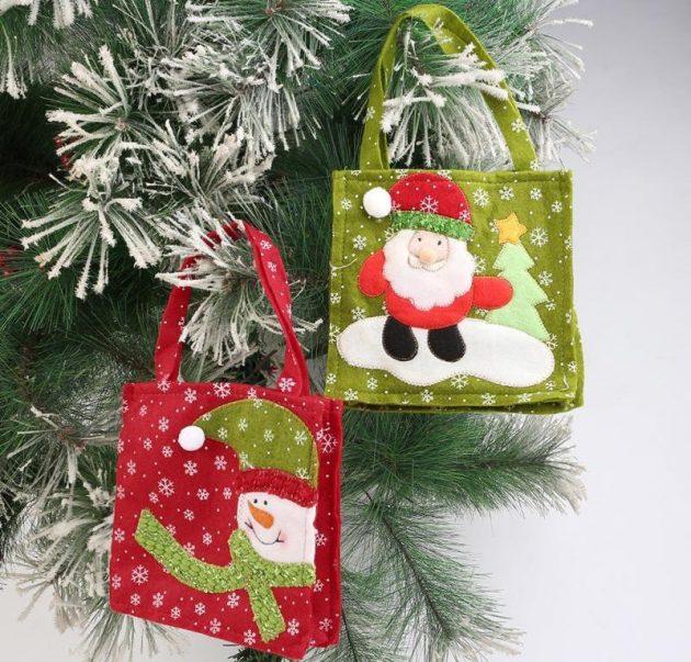 новогодние товары: тряпичные сумки с ручками