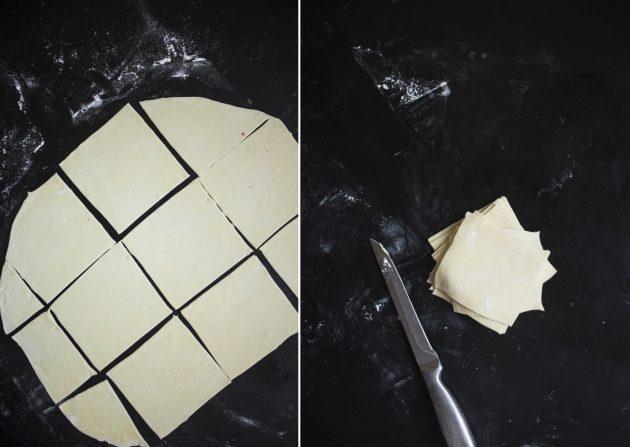 Как приготовить кудяблики: нарежьте тесто квадратами