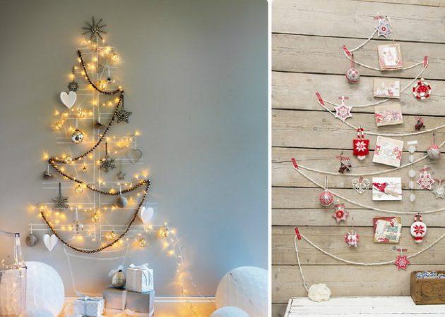 Как украсить дом к Новому году: настенные ёлки