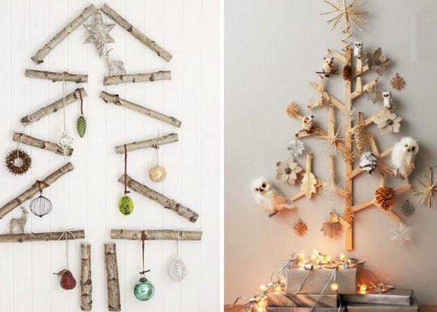 Как украсить дом к Новому году: ёлки на стене