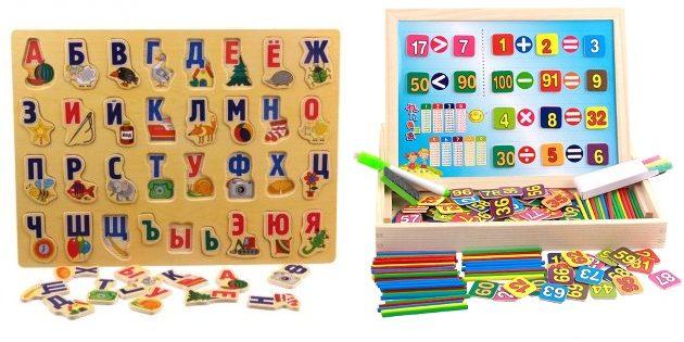 Подарки ребенку на новый год: Обучающие доски с цифрами и буквами