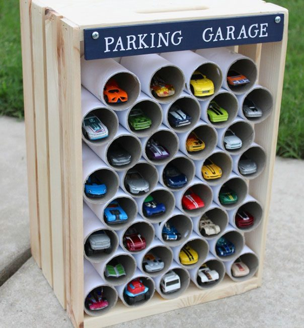 use-toilet-paper-rolls-to-create-a-garage-for-toy-cars