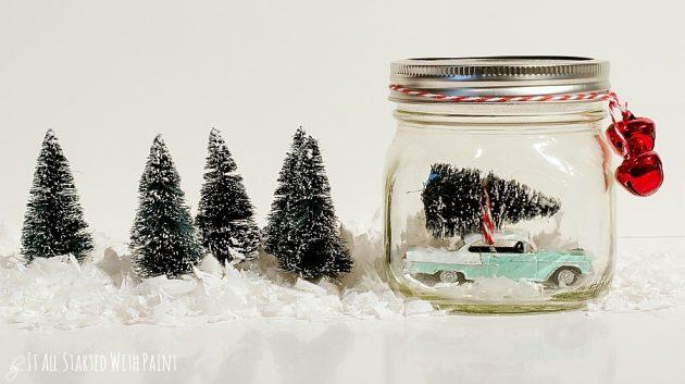 Как сделать новогодний подарок своими руками: снежный шар с машинкой