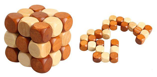 Деревянный куб-головоломка