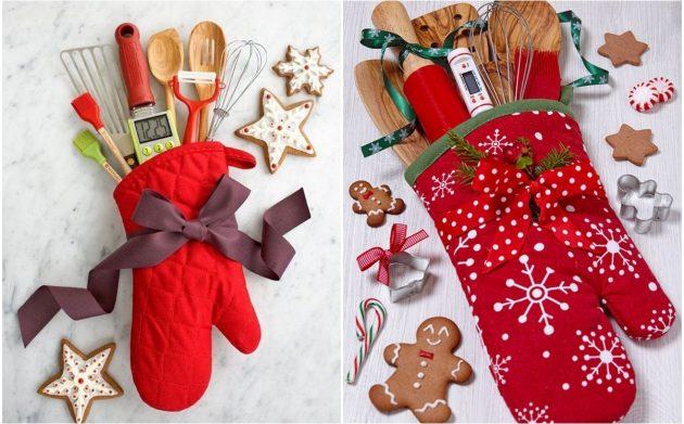 Как сделать новогодний подарок своими руками: Прихватка-руковица