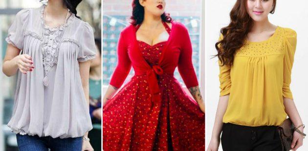 Как убрать живот: топы и платья с акцентом на груди