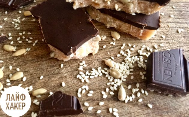 Орехово-карамельные батончики с шоколадом