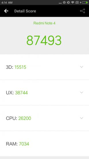 Xiaomi Redmi Note 4: синтетические тесты
