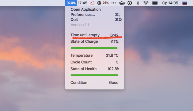 Как вернуть в macOS отображение оставшегося времени работы от батареи