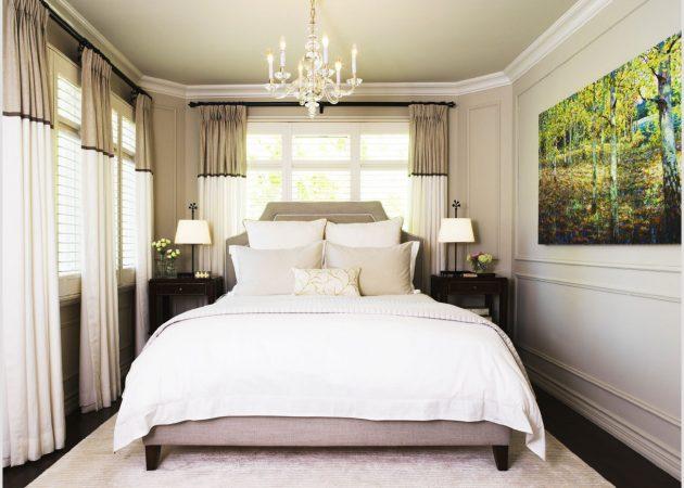 Маленькая спальня: акцент на стеных