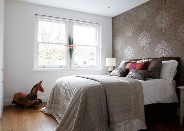 Маленькая спальня: акцент для стен