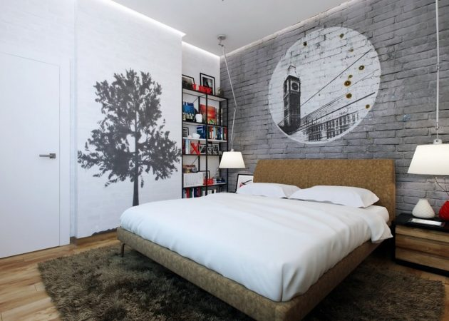 Маленькая спальня: акцент на стенах