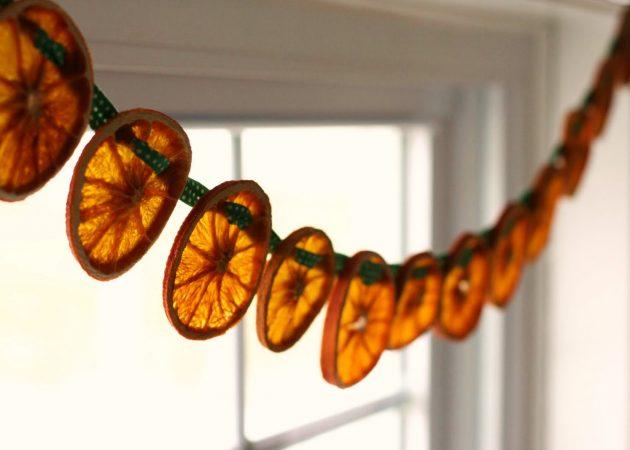 Украшение ёлки: засушенные апельсины