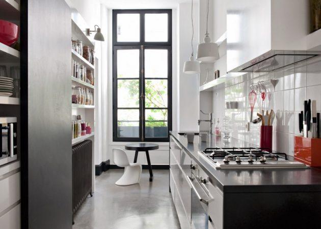Узкая кухня: обеденная зона