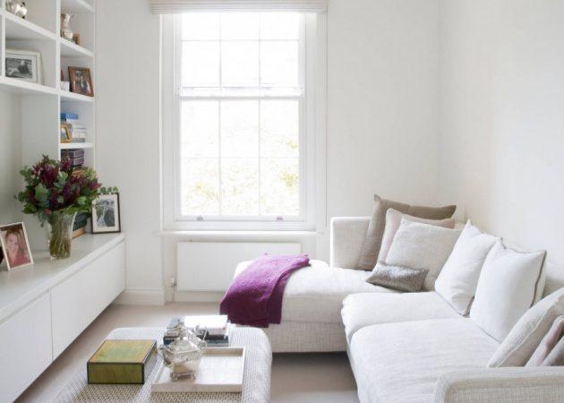 Узкая гостиная: мебель