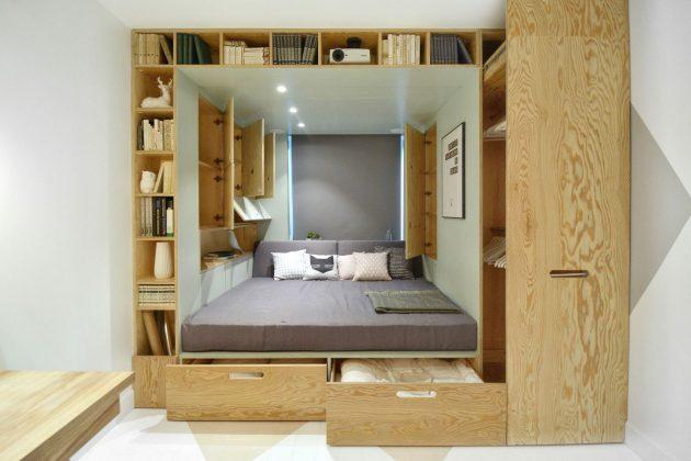 Узкая спальня: встроенная конструкция