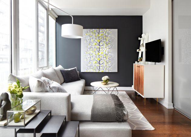 Узкая комната: используйте разные цвета