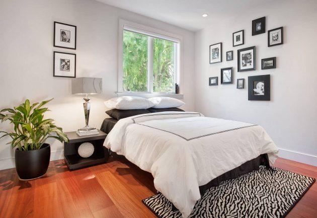 Маленькая спальня: контрастный пол
