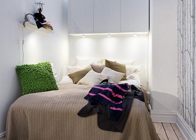 Узкая спальня: место для хранения над кроватью