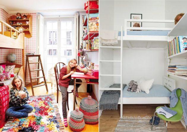 Узкая детская: двухъярусная кровать