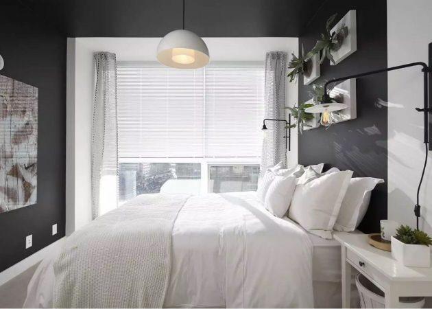 Узкая спальня: кровать