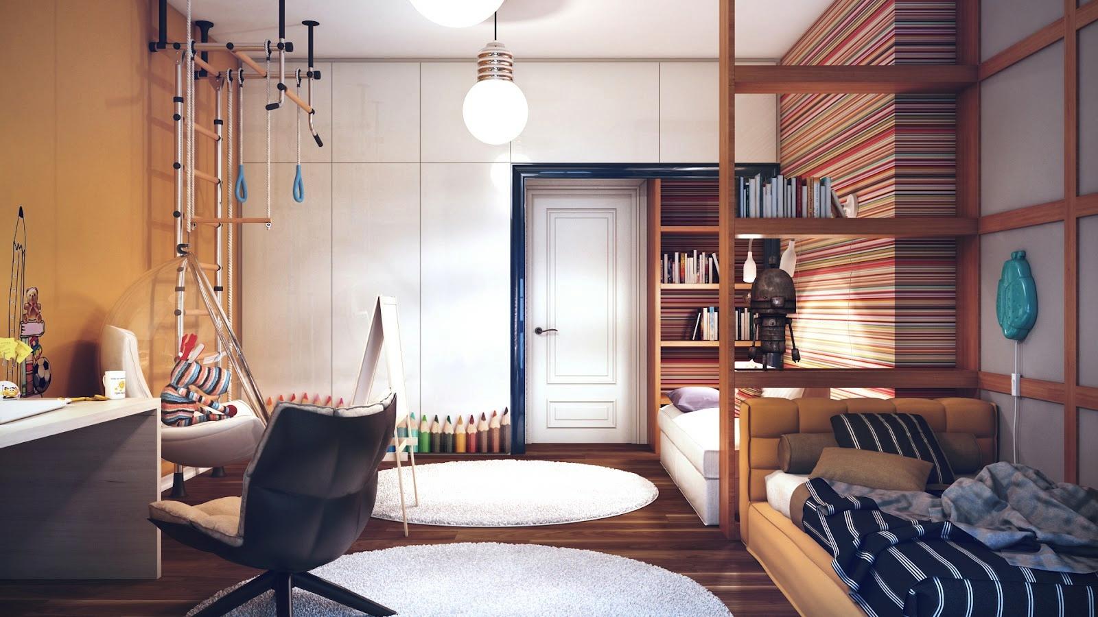 Большая комната для мальчика дизайн 526