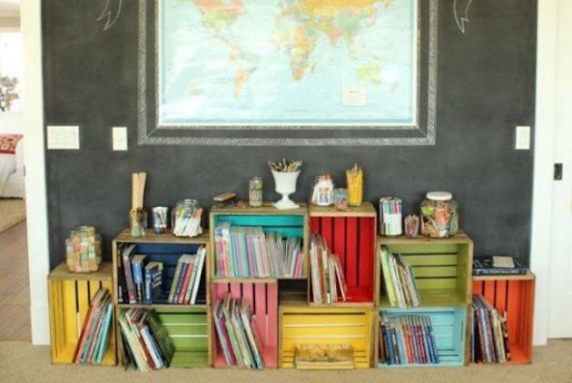 Дизайн детской комнаты: стеллаж