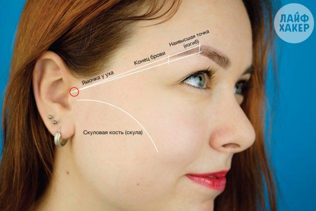 Коррекция бровей: Определите направление хвостика брови