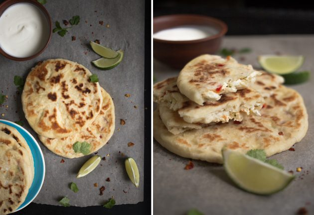 Готовые индийские лепёшки наан с творожной начинкой