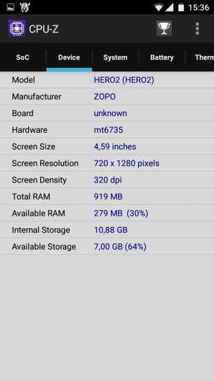 Zopo Hero 2 screen