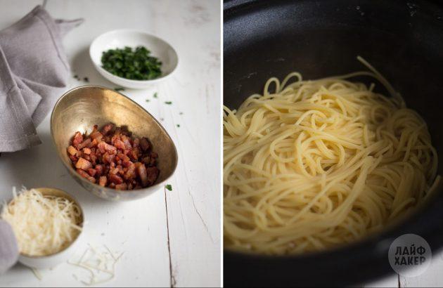 Как приготовить пасту карбонара: обжарьте бекон и сварите спагетти