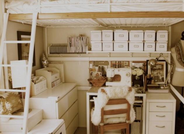 Дизайн квартиры-студии: кровать-чердак