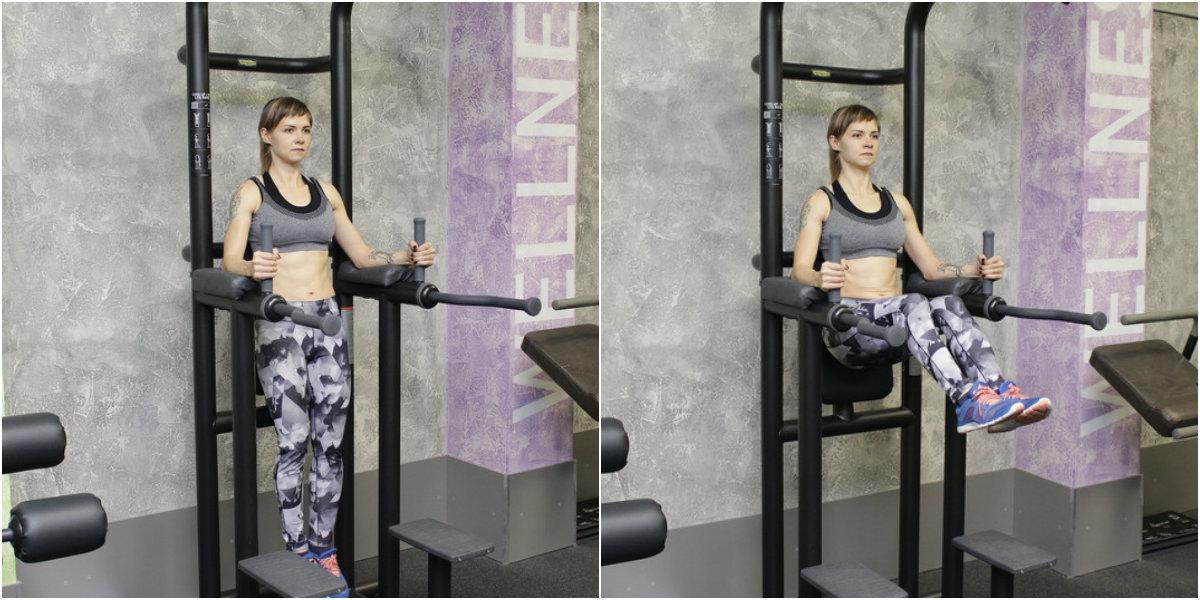 Грубый секс в спортзале у шведской стенки стоя