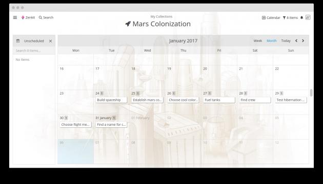 Zenkit: календарный режим