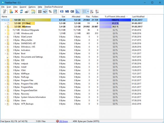бесплатные программы для Windows: TreeSize Free