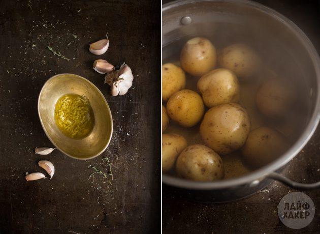 Как запечь картофель в духовке: Сварите картофель и приготовьте чесночное масло